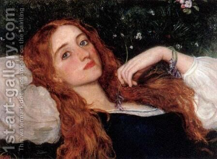 In the Grass 1864-65 by Arthur Hughes - Reproduction Oil Painting