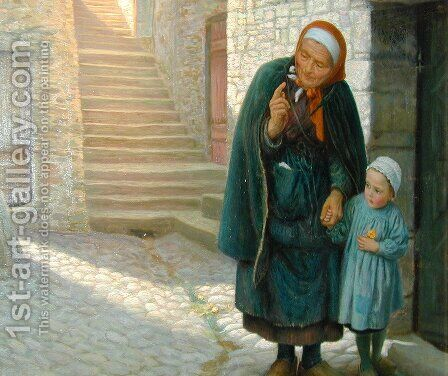 Old Neighbour Gone Bye by Arthur Hughes - Reproduction Oil Painting