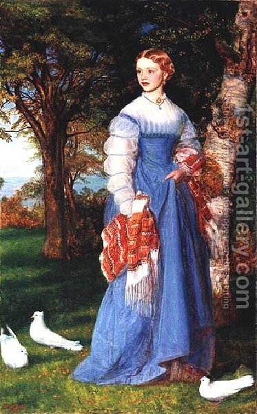 Portrait Of Mrs  Louisa Jenner by Arthur Hughes - Reproduction Oil Painting
