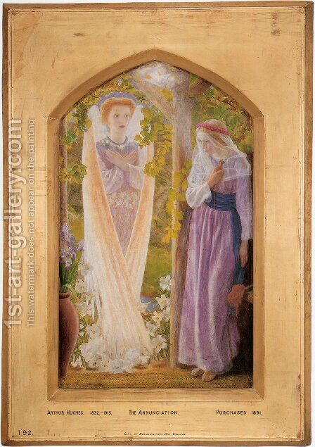 The Annunciation 1857-58 by Arthur Hughes - Reproduction Oil Painting