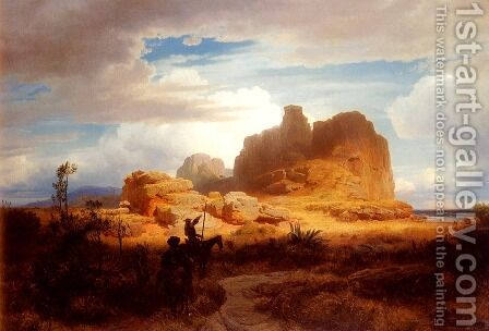Don Quixote And Sancho Panza by Andreas Achenbach - Reproduction Oil Painting