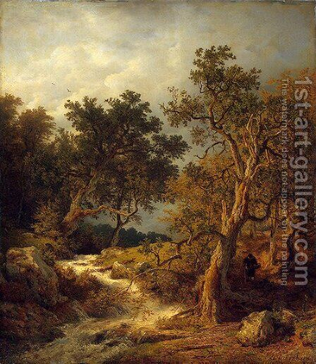 Landscape With A Stream by Andreas Achenbach - Reproduction Oil Painting
