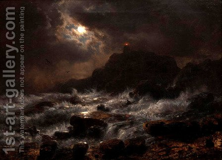 Norwegian Coast By Moonlight by Andreas Achenbach - Reproduction Oil Painting