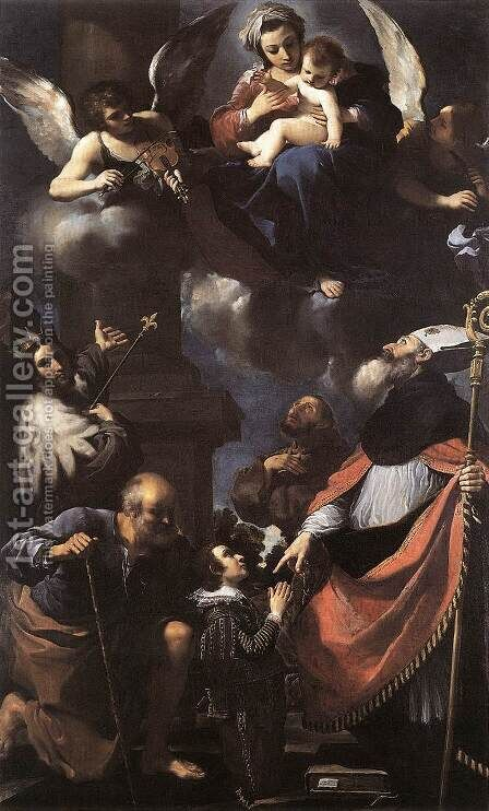 A Donor Presented To The Virgin 1616 by Giovanni Francesco Guercino (BARBIERI) - Reproduction Oil Painting