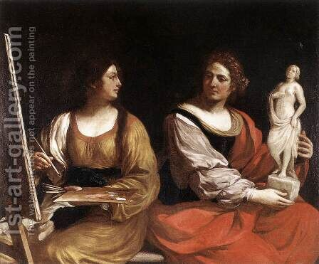 Allegory Of Painting And Sculpture 1637 by Giovanni Francesco Guercino (BARBIERI) - Reproduction Oil Painting