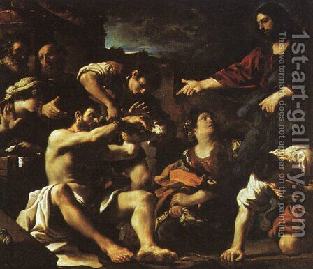 Raising Of Lazarus 1619 by Giovanni Francesco Guercino (BARBIERI) - Reproduction Oil Painting