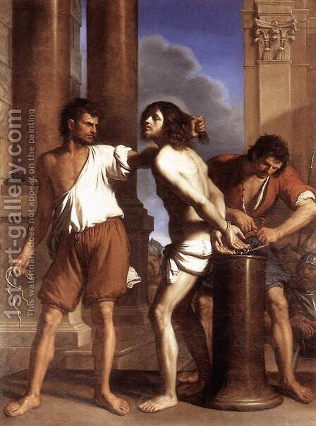 The Flagellation Of Christ 1644 by Giovanni Francesco Guercino (BARBIERI) - Reproduction Oil Painting