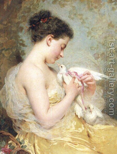 A Beauty With Doves by Charles Chaplin - Reproduction Oil Painting