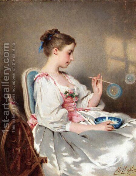 Blowing Bubbles by Charles Chaplin - Reproduction Oil Painting