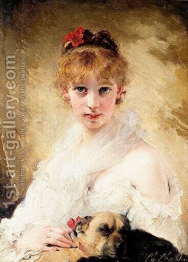 Her Favourite Dog by Charles Chaplin - Reproduction Oil Painting