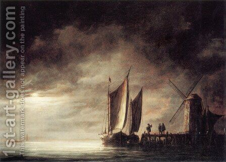 Dordrecht Harbour By Moonlight by Aelbert Cuyp - Reproduction Oil Painting