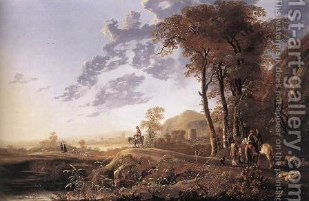 Evening Landscape with Horsemen and Shepherds 1655-60 by Aelbert Cuyp - Reproduction Oil Painting
