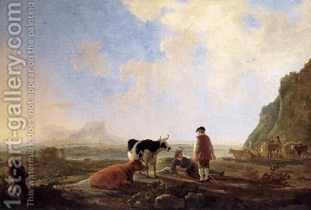 Herdsmen with Cows by Aelbert Cuyp - Reproduction Oil Painting
