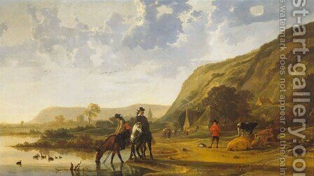 River Landscape With Riders by Aelbert Cuyp - Reproduction Oil Painting
