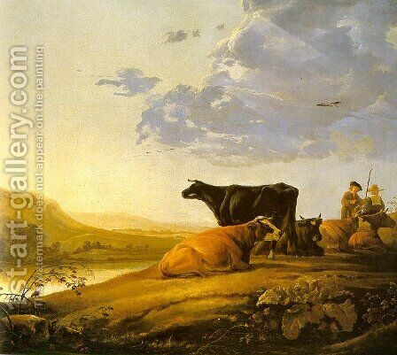 Young Herdsman with Cows 1655-60 by Aelbert Cuyp - Reproduction Oil Painting