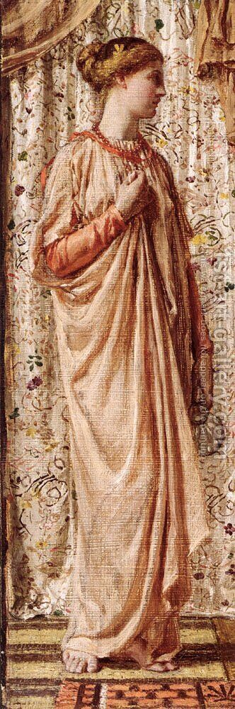 Standing Female Figure Holding A Vase by Albert Joseph Moore - Reproduction Oil Painting