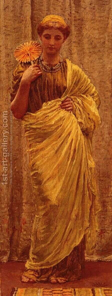 The Gilded Fan by Albert Joseph Moore - Reproduction Oil Painting
