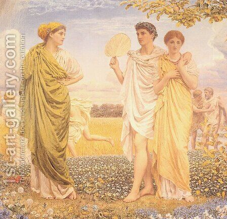 The Loves Of The Winds And The Seasons by Albert Joseph Moore - Reproduction Oil Painting