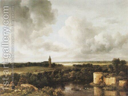 Landscape With Church And Ruined Castle by Jacob Van Ruisdael - Reproduction Oil Painting