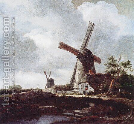 Landscape With Windmills Near Haarlem by Jacob Van Ruisdael - Reproduction Oil Painting