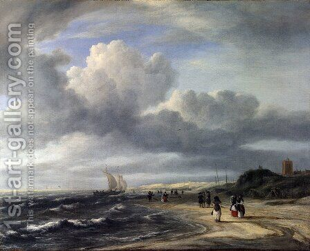The Shore at Egmond-an-Zee c. 1675 by Jacob Van Ruisdael - Reproduction Oil Painting
