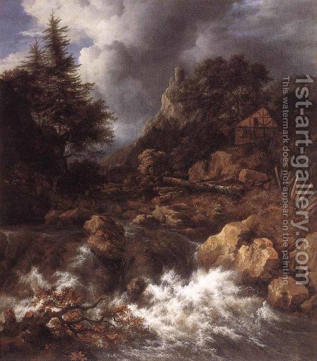 Waterfall in a Mountainous Northern Landscape 1665 by Jacob Van Ruisdael - Reproduction Oil Painting