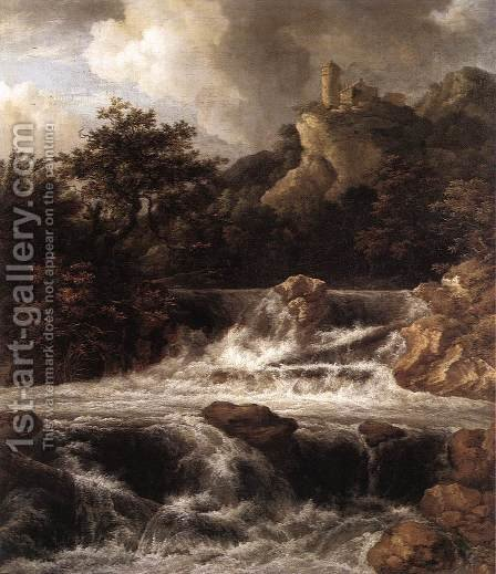 Waterfall with Castle Built on the Rock c. 1665 by Jacob Van Ruisdael - Reproduction Oil Painting