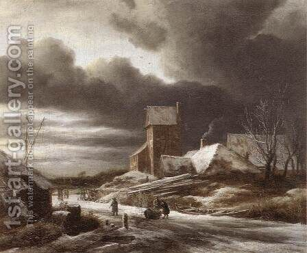 Winter Landscape 1670 by Jacob Van Ruisdael - Reproduction Oil Painting