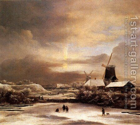 Winter Landscape2 by Jacob Van Ruisdael - Reproduction Oil Painting