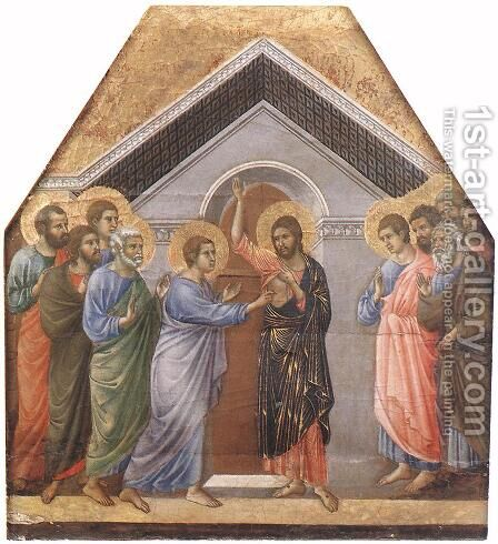 Doubting Thomas 1308-11 by Duccio Di Buoninsegna - Reproduction Oil Painting