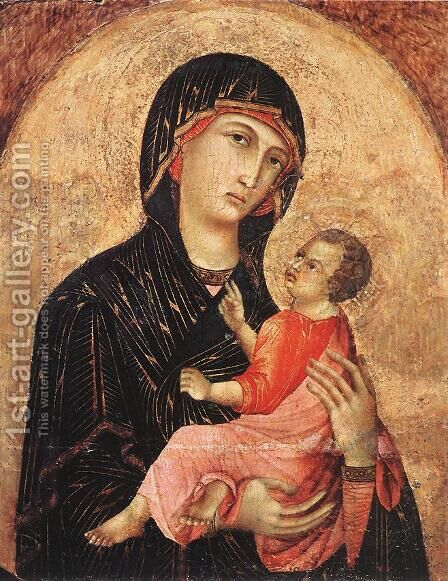 Madonna and Child (no. 593) 1280s by Duccio Di Buoninsegna - Reproduction Oil Painting