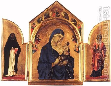 Triptych 1300-05 by Duccio Di Buoninsegna - Reproduction Oil Painting
