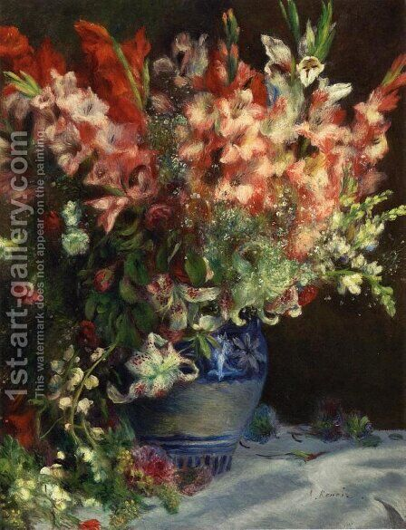 Gladiolas In A Vase by Pierre Auguste Renoir - Reproduction Oil Painting