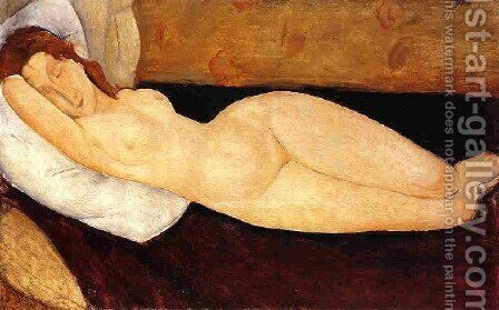 Reclining Nude  Head Resting On Right Ar Nude Restin M Aka Nude On A Couch by Amedeo Modigliani - Reproduction Oil Painting