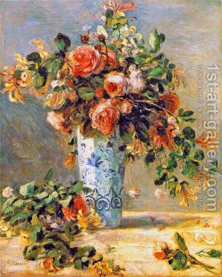 Roses And Jasmine In A Delft Vase by Pierre Auguste Renoir - Reproduction Oil Painting