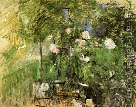 A Corner Of The Rose Garden by Berthe Morisot - Reproduction Oil Painting