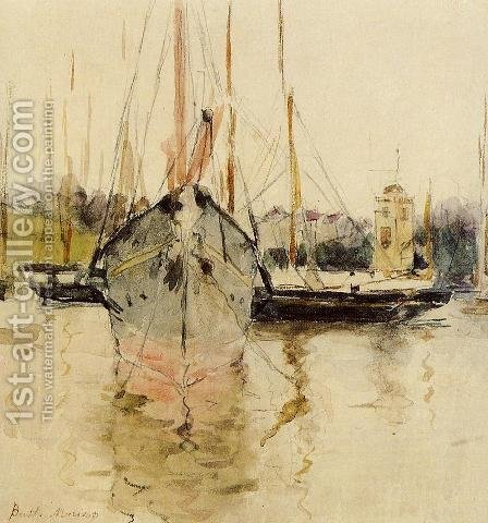 Boats   Entry To The Medina In The Isle Of Wight Aka Pugad Baboy by Berthe Morisot - Reproduction Oil Painting