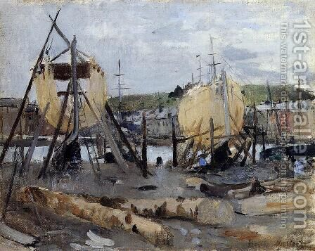 Boats Under Construction by Berthe Morisot - Reproduction Oil Painting