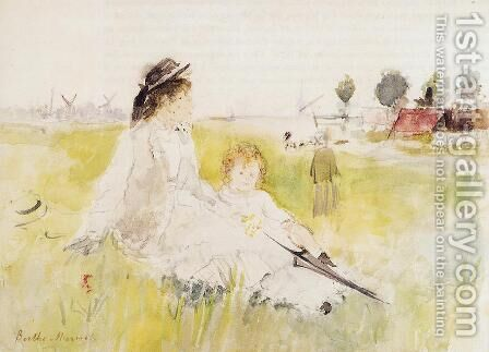 Girl And Child On The Grass by Berthe Morisot - Reproduction Oil Painting