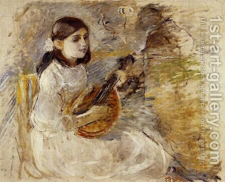 Girl Playing The Mandolin by Berthe Morisot - Reproduction Oil Painting