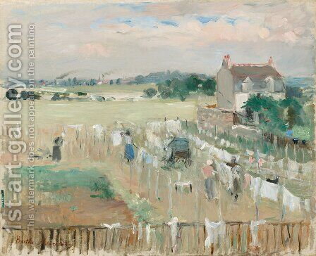 Hanging The Laundry Out To Dry by Berthe Morisot - Reproduction Oil Painting
