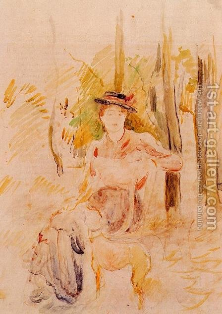 Jeune Fille A La Levrette by Berthe Morisot - Reproduction Oil Painting