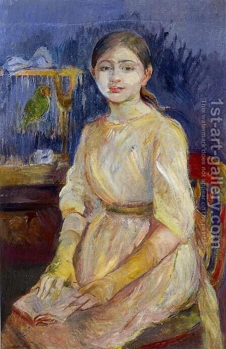 Julie Manet With A Budgie by Berthe Morisot - Reproduction Oil Painting