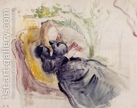 Julie Manet  Reading In A Chaise Lounge by Berthe Morisot - Reproduction Oil Painting