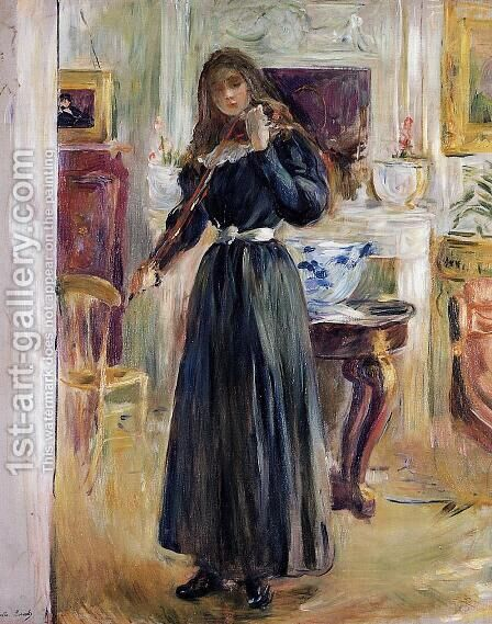 Julie Playing A Violin by Berthe Morisot - Reproduction Oil Painting