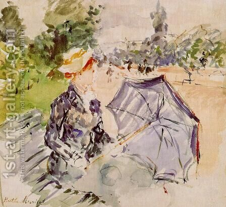 Lady with a Parasol Sitting in a Park 1885 by Berthe Morisot - Reproduction Oil Painting