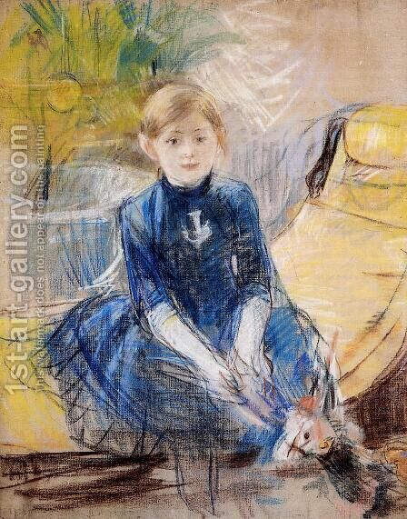Little Girl In A Blue Dress by Berthe Morisot - Reproduction Oil Painting