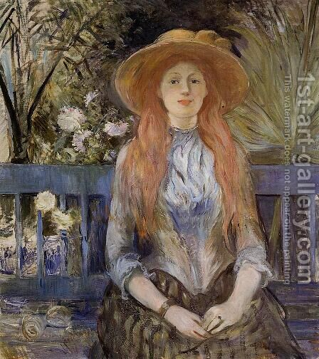 On A Bench by Berthe Morisot - Reproduction Oil Painting