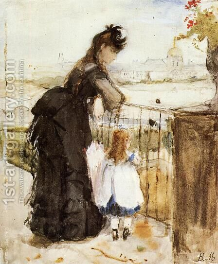 On the Balcony 1872 by Berthe Morisot - Reproduction Oil Painting