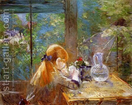 On The Veranda by Berthe Morisot - Reproduction Oil Painting